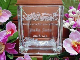 退職プレゼント用のガラスベース