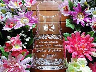 両親の還暦祝い用のガラス花瓶