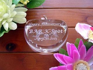 周年祝いのプレゼント用の名入れ3Dアートグラス・ガラスのオブジェ