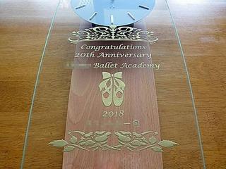 バレエ教室の20周年祝い用の掛け時計