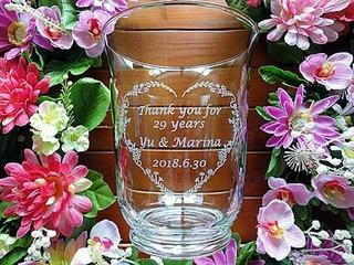 新郎新婦から両親への贈呈品用のガラス花瓶
