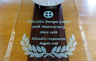 創立50周年のお祝い用の名入れ掛け時計