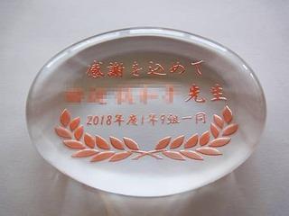 「感謝を込めて ○○先生 ○○一同」を彫刻した、卒業生から担任の先生への贈り物用のペーパーウェイト
